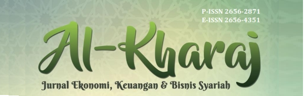 Al-Kharaj: Jurnal Ekonomi, Keuangan & Bisnis Syariah is a scientific journal published by Pusat Riset dan Kebijakan Strategis PRKS) of  Institut Agama Islam Nasional (IAI-N) Laa Roiba Bogor in collaboration with Masyarakat Ekonomi Syariah (MES) and Intelectual Association for Islamic Studies (IAFORIS). This journal contains scientific papers from academics, researchers and practitioners in the fields of Islamic economics,finance and business research. P-ISSN 2656-2871 E-ISSN 2656-4351.